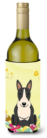 Buy this Easter Eggs Bull Terrier Black White Wine Bottle Beverge Insulator Hugger BB6133LITERK