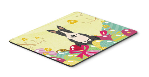 Buy this Easter Eggs Bull Terrier Black White Mouse Pad, Hot Pad or Trivet BB6133MP