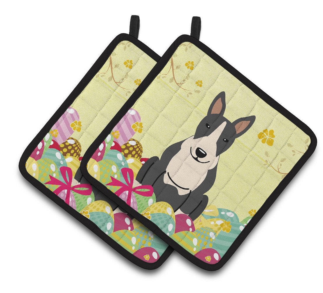 Buy this Easter Eggs Bull Terrier Black White Pair of Pot Holders BB6133PTHD