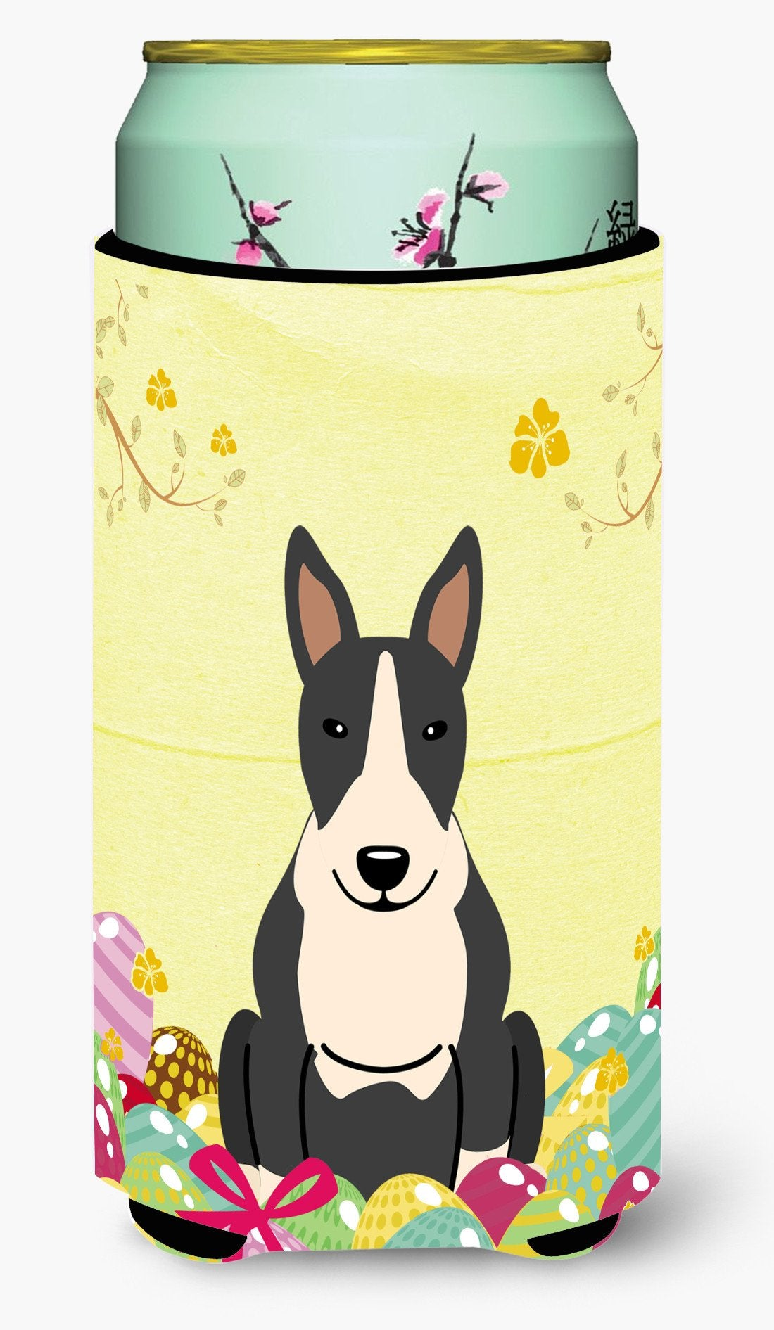 Easter Eggs Bull Terrier Black White Tall Boy Beverage Insulator Hugger BB6133TBC by Caroline's Treasures