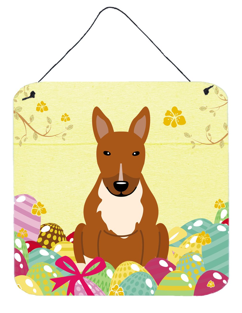 Buy this Easter Eggs Bull Terrier Red Wall or Door Hanging Prints BB6134DS66