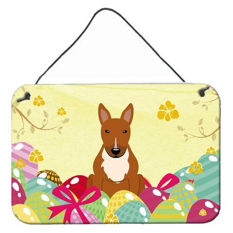 Buy this Easter Eggs Bull Terrier Red Wall or Door Hanging Prints BB6134DS812