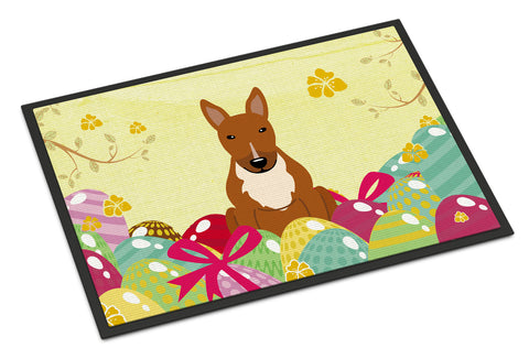 Buy this Easter Eggs Bull Terrier Red Indoor or Outdoor Mat 18x27 BB6134MAT