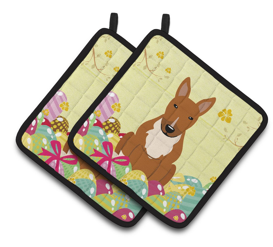 Buy this Easter Eggs Bull Terrier Red Pair of Pot Holders BB6134PTHD