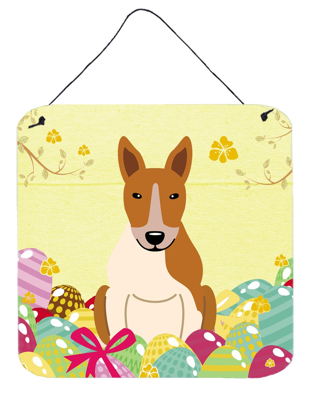 Buy this Easter Eggs Bull Terrier Red White Wall or Door Hanging Prints BB6135DS66