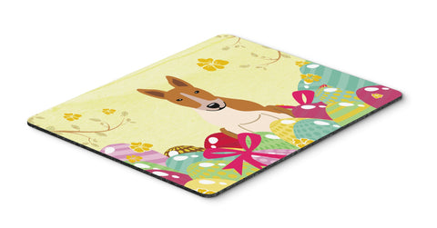 Buy this Easter Eggs Bull Terrier Red White Mouse Pad, Hot Pad or Trivet BB6135MP
