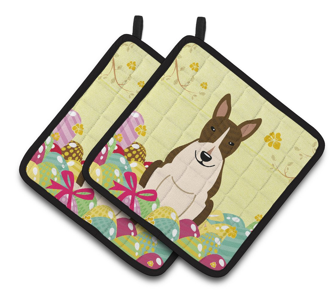 Buy this Easter Eggs Bull Terrier Dark Brindle Pair of Pot Holders BB6136PTHD