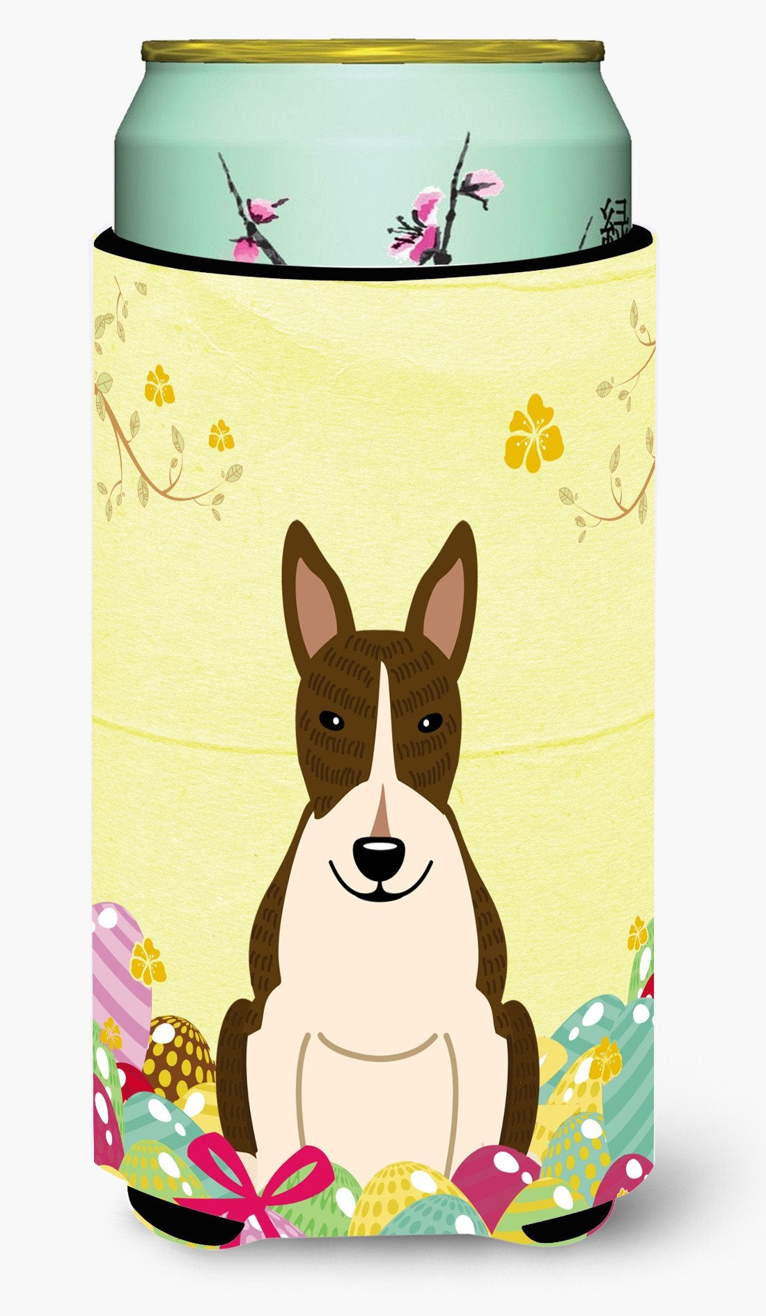 Easter Eggs Bull Terrier Dark Brindle Tall Boy Beverage Insulator Hugger BB6136TBC by Caroline's Treasures