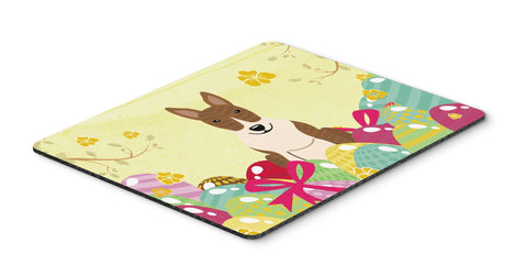 Buy this Easter Eggs Bull Terrier Brindle Mouse Pad, Hot Pad or Trivet BB6137MP