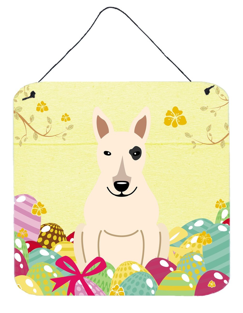 Buy this Easter Eggs Bull Terrier White Wall or Door Hanging Prints BB6138DS66
