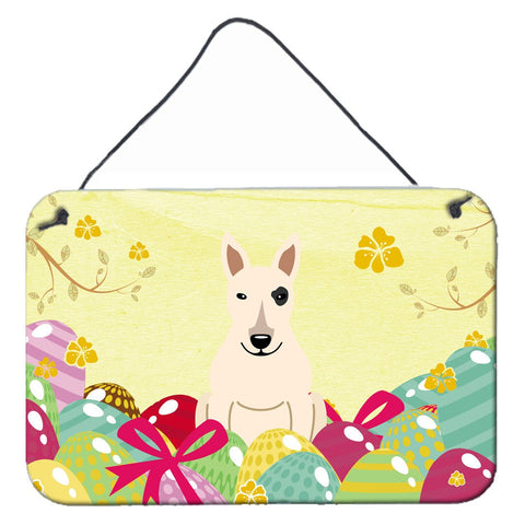 Buy this Easter Eggs Bull Terrier White Wall or Door Hanging Prints BB6138DS812