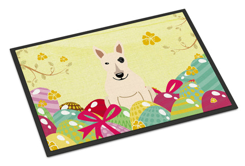 Buy this Easter Eggs Bull Terrier White Indoor or Outdoor Mat 18x27 BB6138MAT