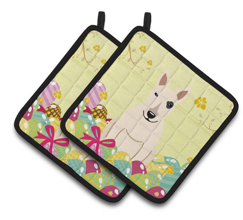 Buy this Easter Eggs Bull Terrier White Pair of Pot Holders BB6138PTHD