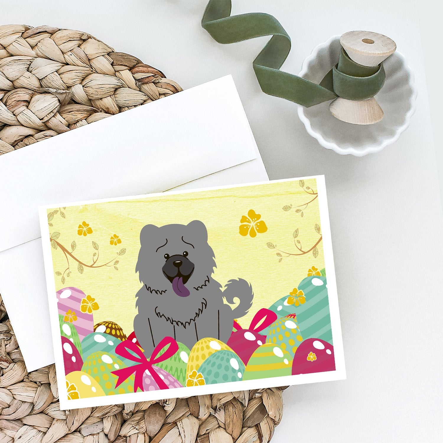 Buy this Easter Eggs Chow Chow Blue Greeting Cards and Envelopes Pack of 8