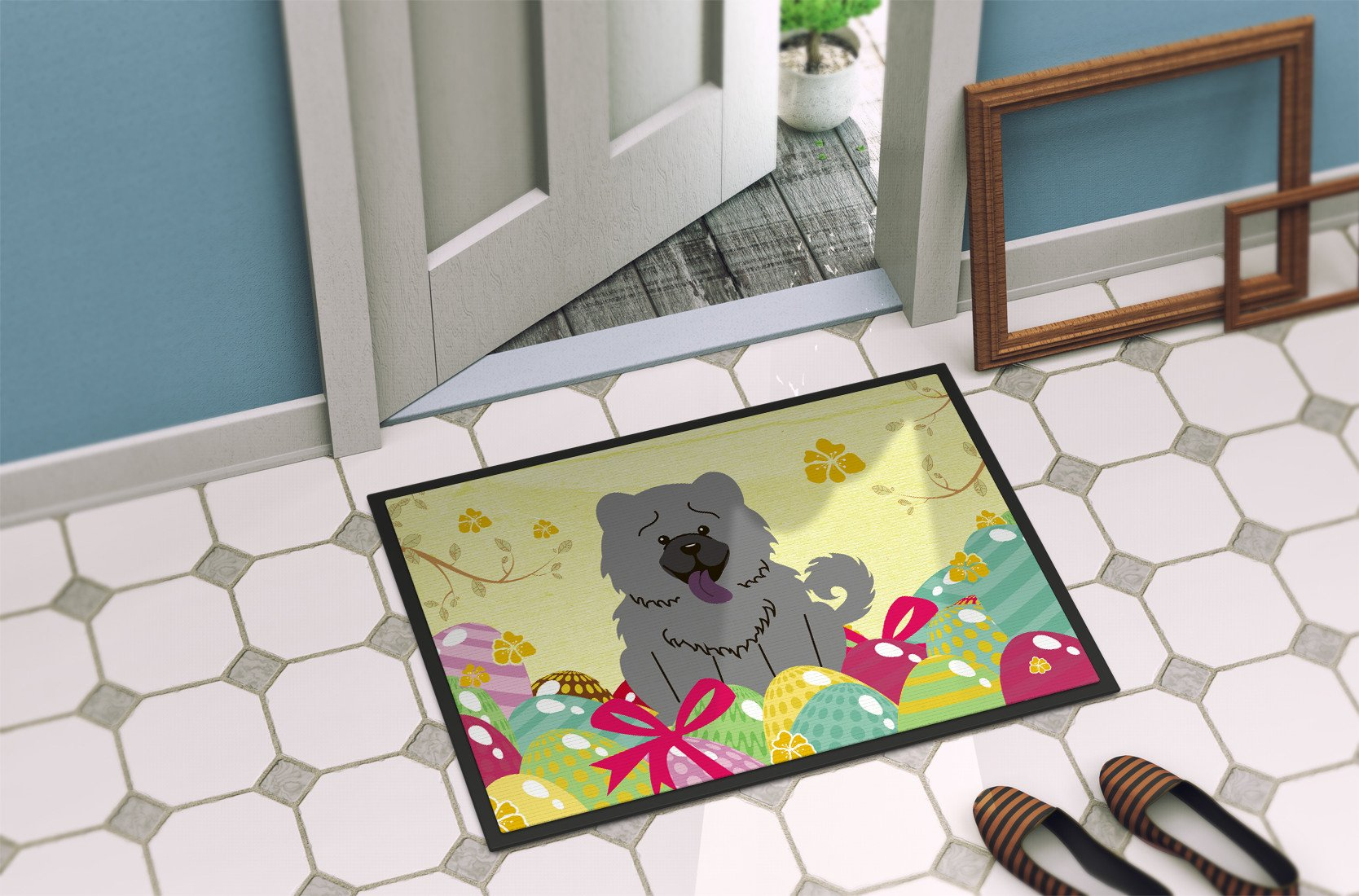 Easter Eggs Chow Chow Blue Indoor or Outdoor Mat 24x36 BB6139JMAT by Caroline's Treasures