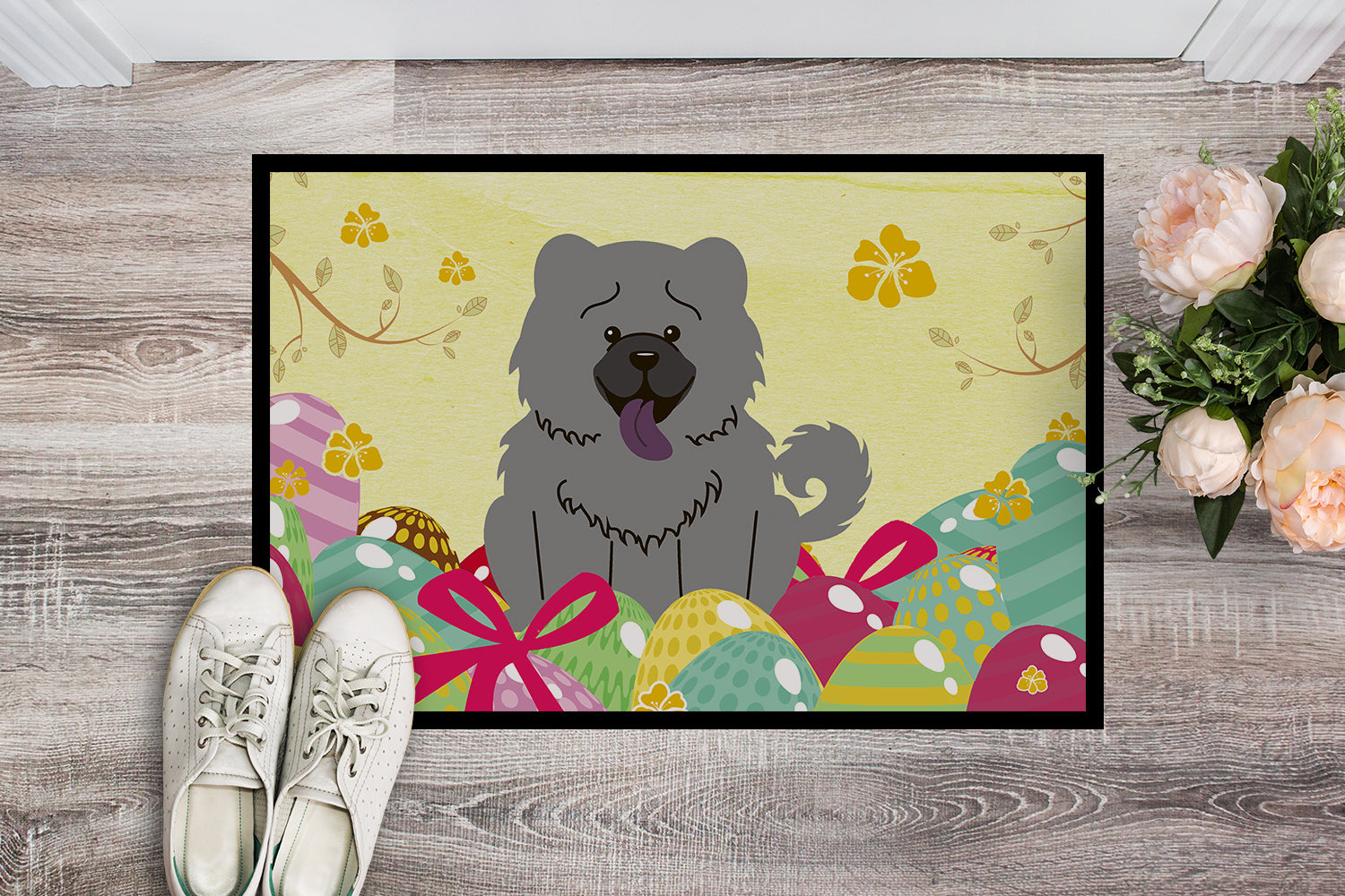 Easter Eggs Chow Chow Blue Indoor or Outdoor Mat 18x27 BB6139MAT by Caroline's Treasures