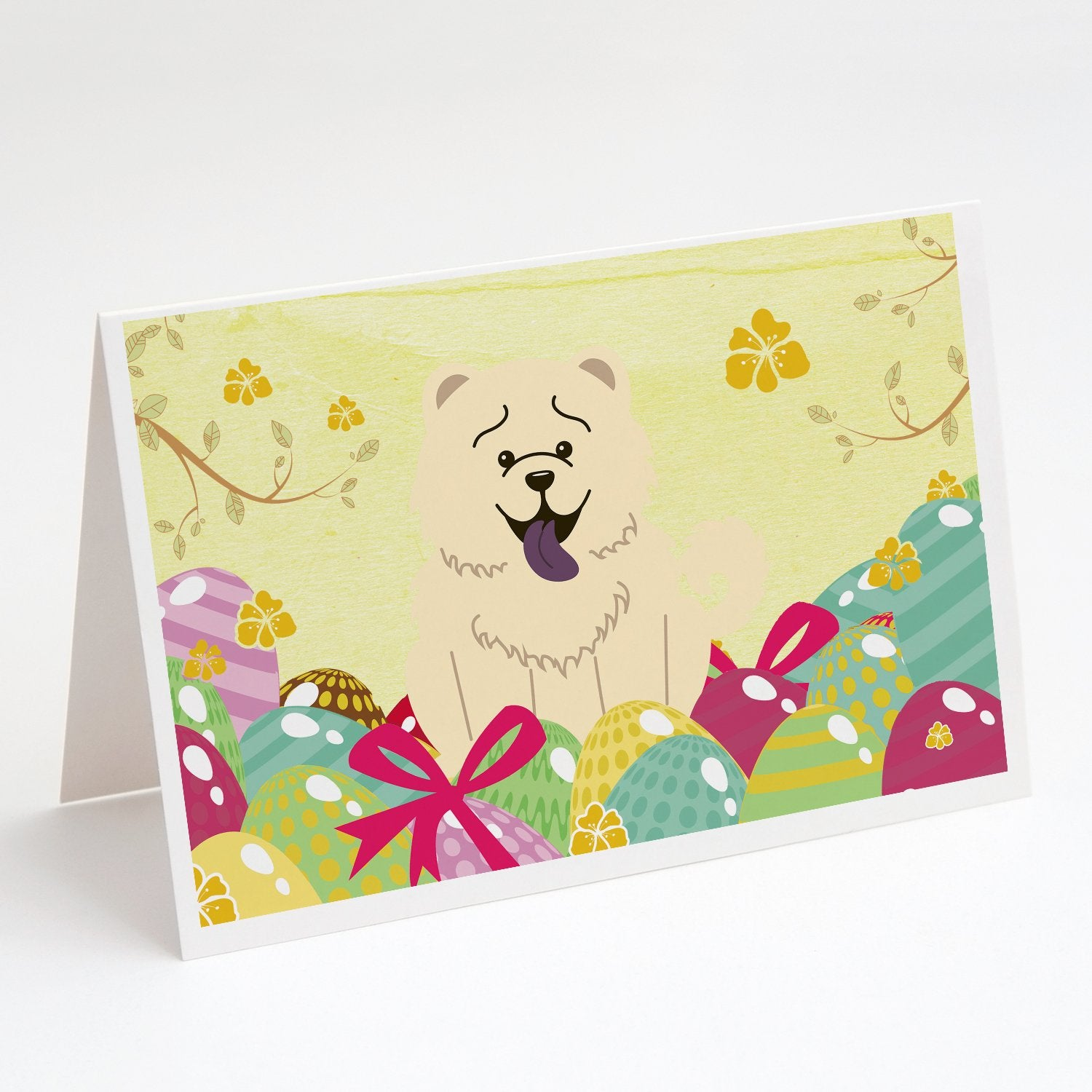 Buy this Easter Eggs Chow Chow White Greeting Cards and Envelopes Pack of 8