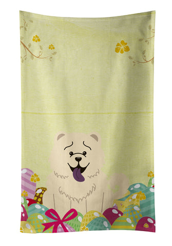 Buy this Easter Eggs Chow Chow White Kitchen Towel BB6140KTWL