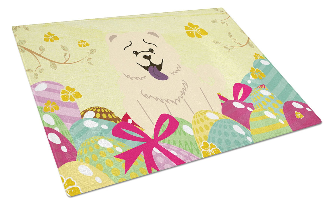Buy this Easter Eggs Chow Chow White Glass Cutting Board Large BB6140LCB