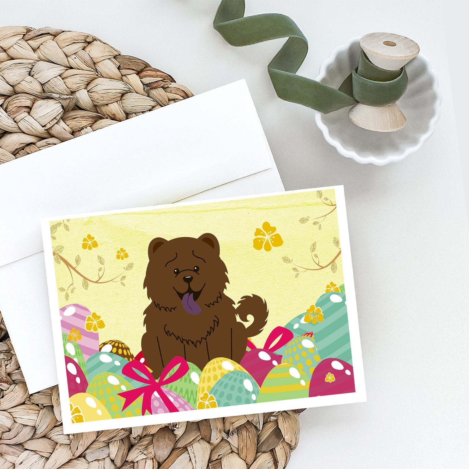 Buy this Easter Eggs Chow Chow Chocolate Greeting Cards and Envelopes Pack of 8