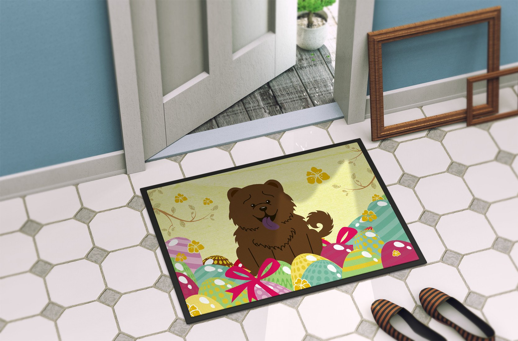 Easter Eggs Chow Chow Chocolate Indoor or Outdoor Mat 24x36 BB6141JMAT by Caroline's Treasures