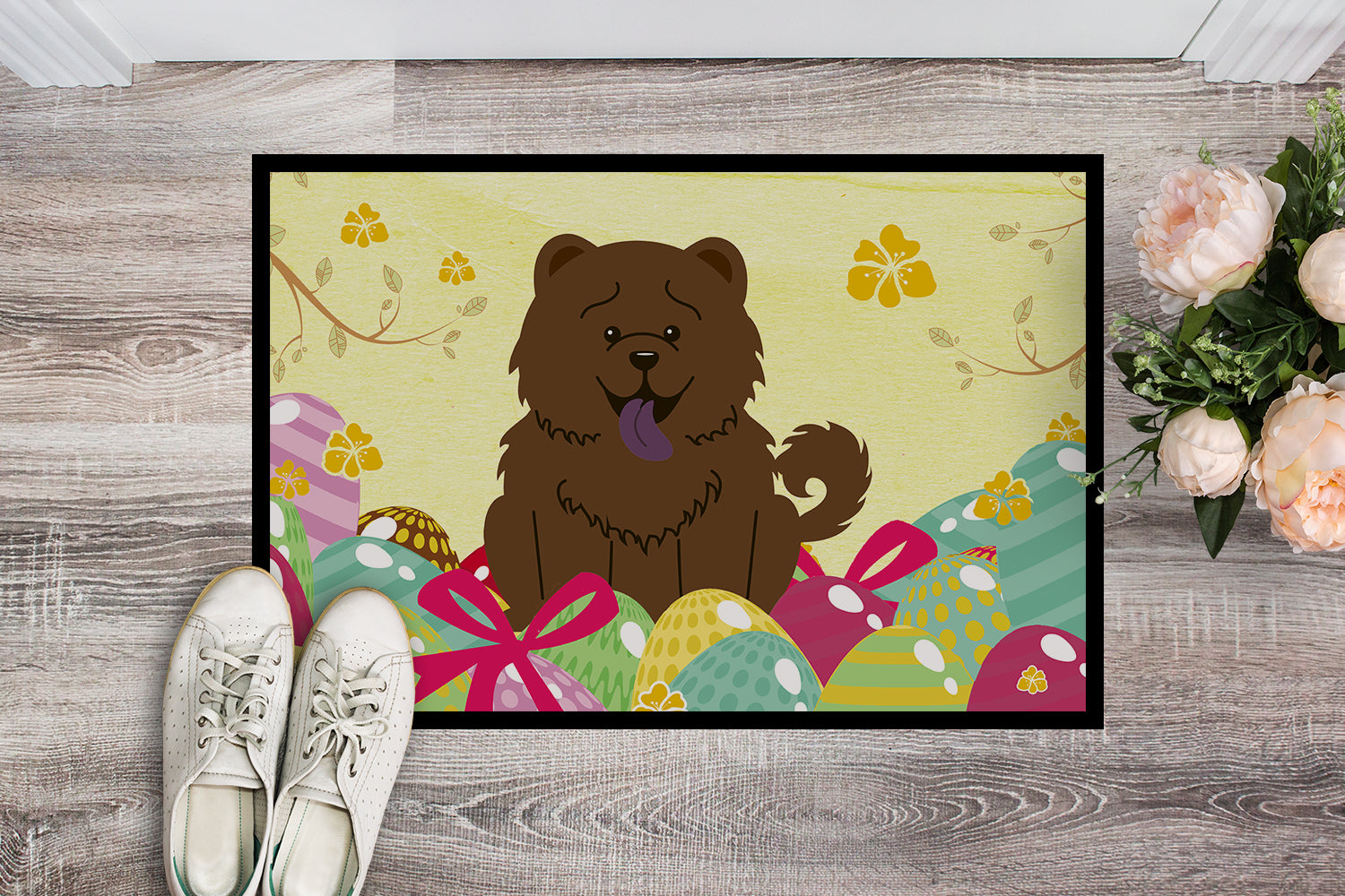 Easter Eggs Chow Chow Chocolate Indoor or Outdoor Mat 18x27 BB6141MAT by Caroline's Treasures