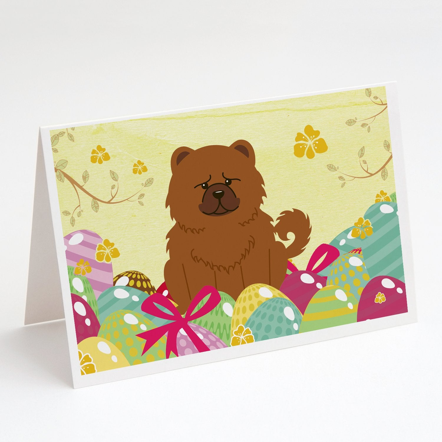 Buy this Easter Eggs Chow Chow Red Greeting Cards and Envelopes Pack of 8
