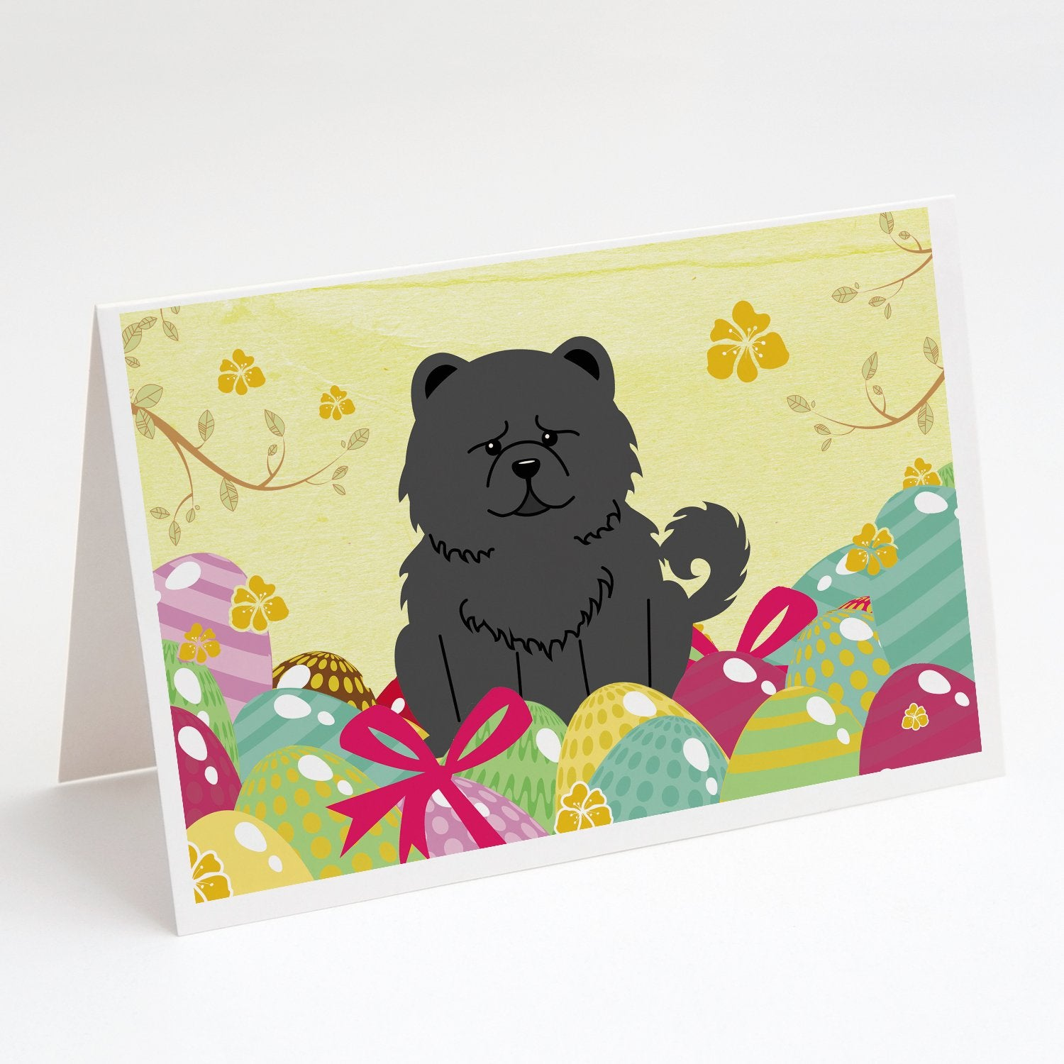 Buy this Easter Eggs Chow Chow Black Greeting Cards and Envelopes Pack of 8