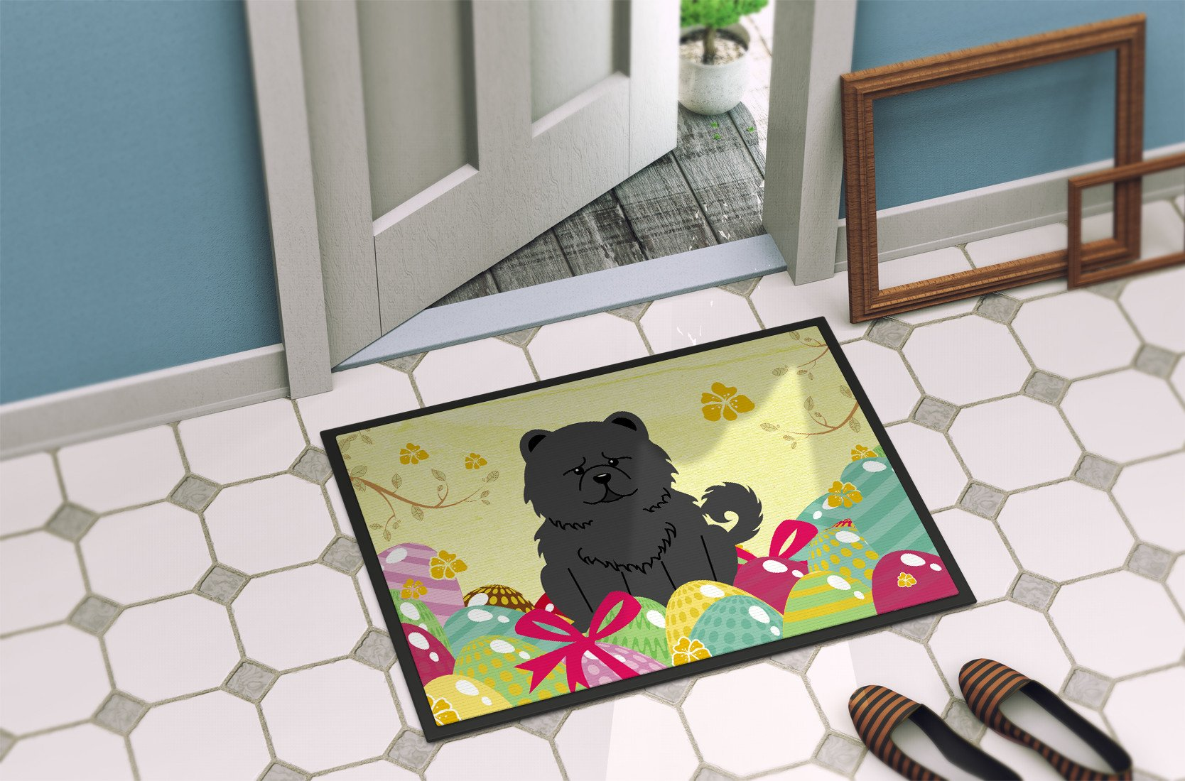 Easter Eggs Chow Chow Black Indoor or Outdoor Mat 24x36 BB6143JMAT by Caroline's Treasures
