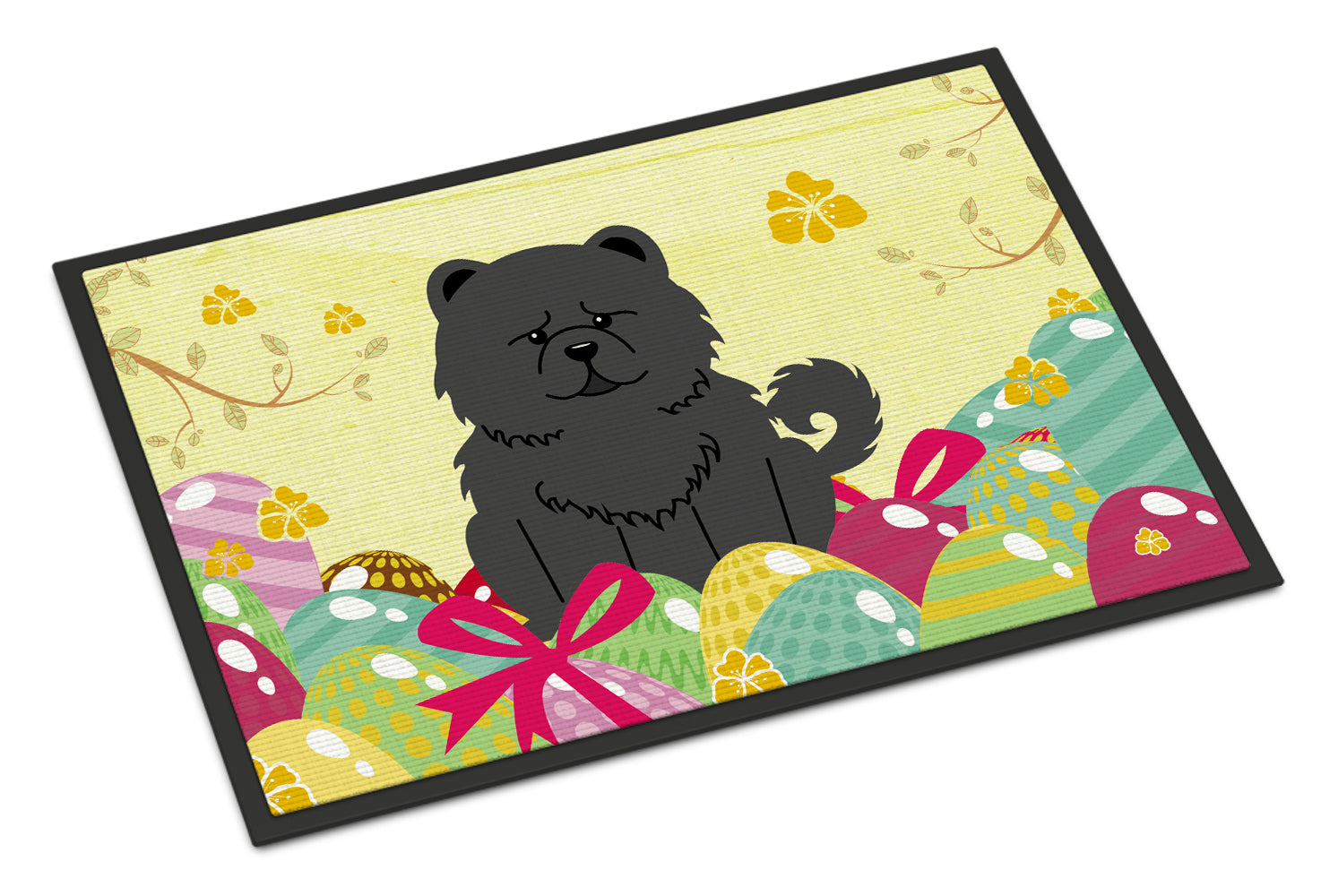 Easter Eggs Chow Chow Black Indoor or Outdoor Mat 18x27 BB6143MAT by Caroline's Treasures
