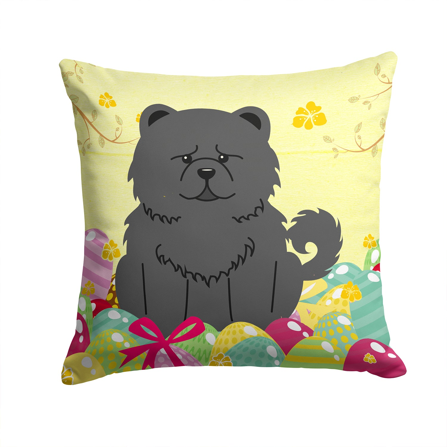 Buy this Easter Eggs Chow Chow Black Fabric Decorative Pillow BB6143PW1414