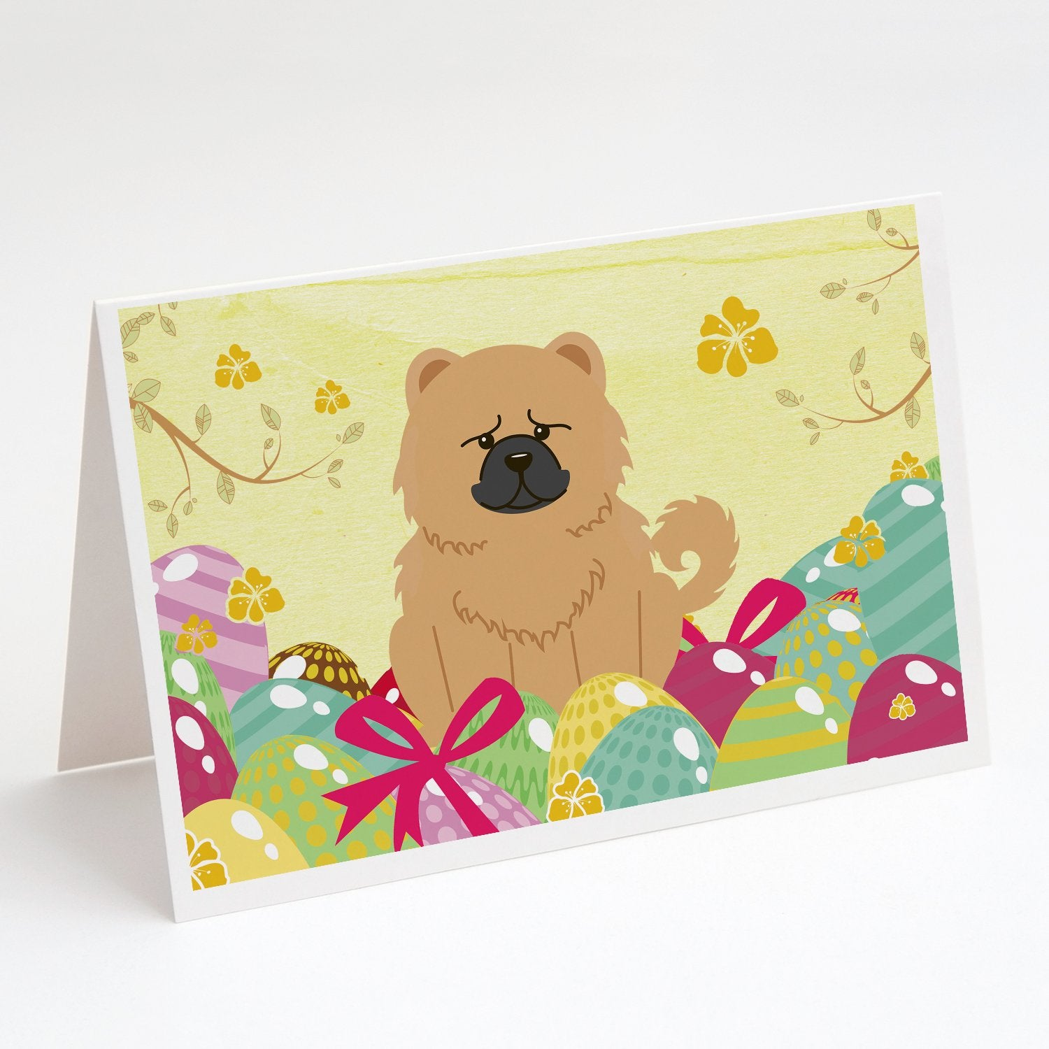 Buy this Easter Eggs Chow Chow Cream Greeting Cards and Envelopes Pack of 8