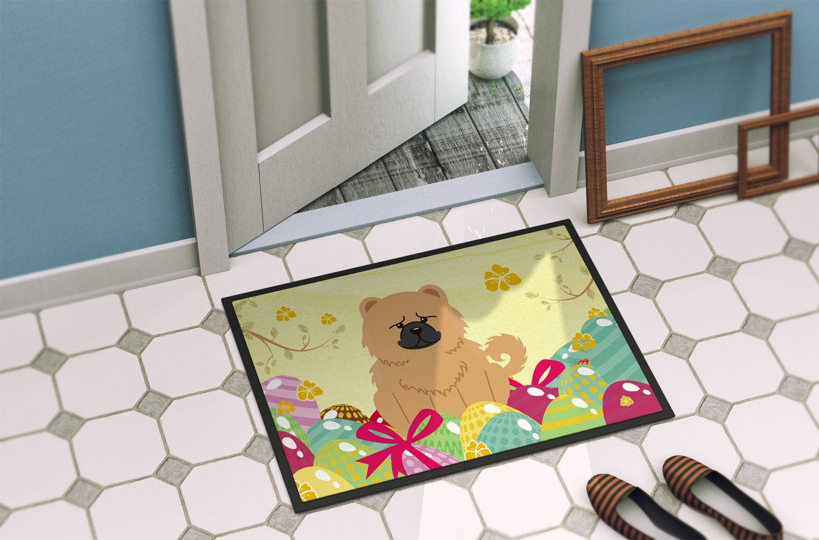 Easter Eggs Chow Chow Cream Indoor or Outdoor Mat 24x36 BB6144JMAT by Caroline's Treasures