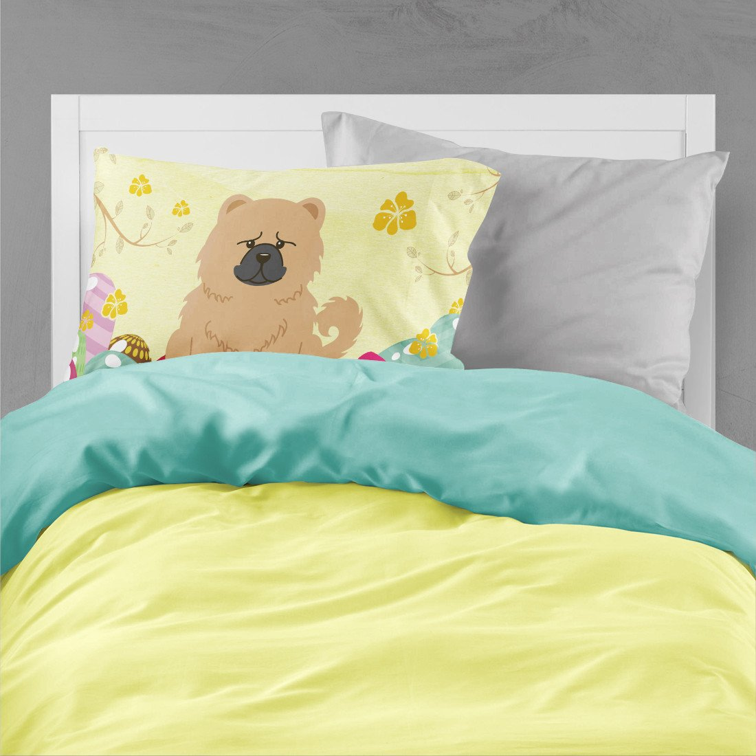 Easter Eggs Chow Chow Cream Fabric Standard Pillowcase BB6144PILLOWCASE by Caroline's Treasures