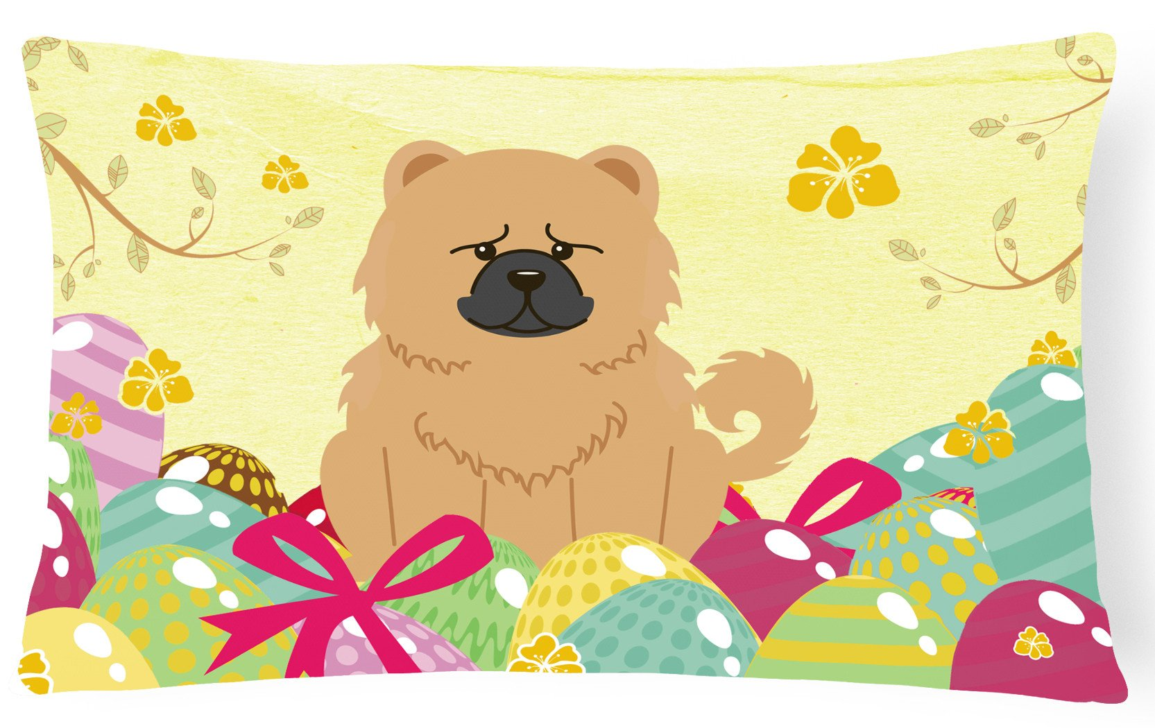 Easter Eggs Chow Chow Cream Canvas Fabric Decorative Pillow BB6144PW1216 by Caroline's Treasures