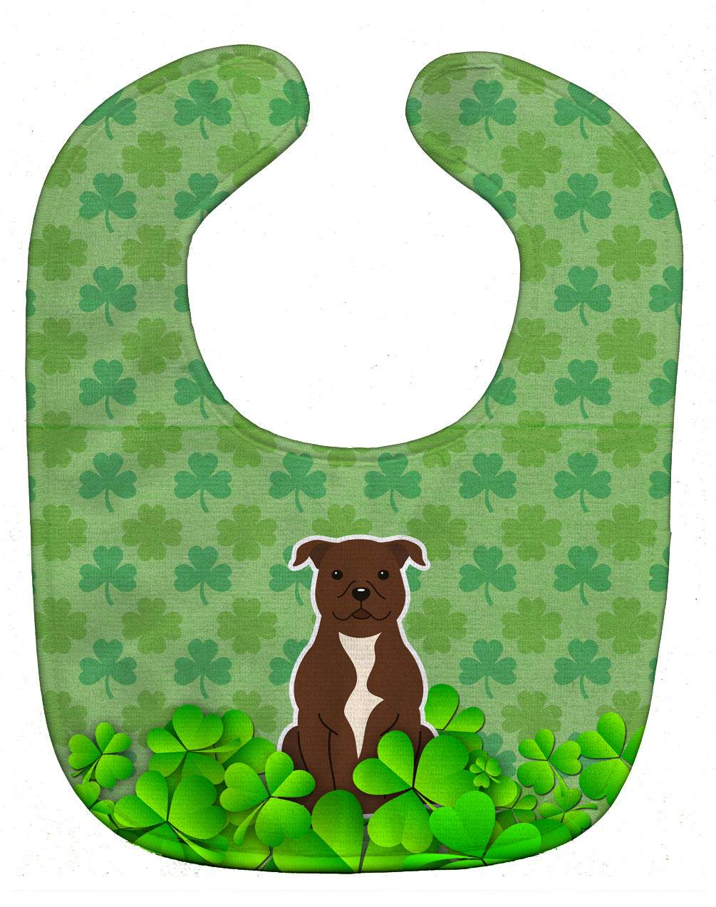 Staffordshire Bull Terrier Chocolate Shamrocks Baby Bib BB6189BIB by Caroline's Treasures