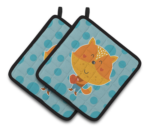 Buy this Polkadot Squirrel Pair of Pot Holders BB6729PTHD