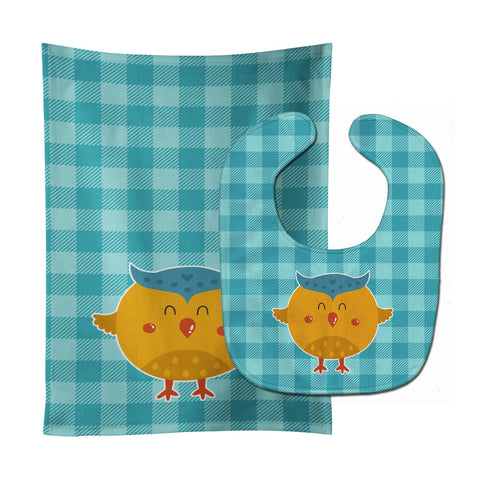 Buy this Wise Owl Baby Bib & Burp Cloth BB6732STBU