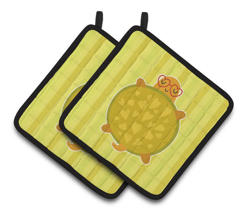 Buy this Turtle with Glasses Pair of Pot Holders BB6736PTHD