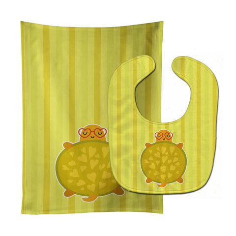 Buy this Turtle with Glasses Baby Bib & Burp Cloth BB6736STBU