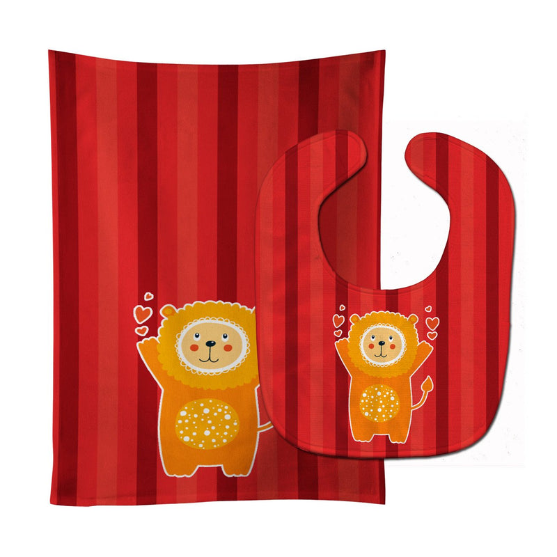 Buy this Lion Love Baby Bib & Burp Cloth BB6754STBU