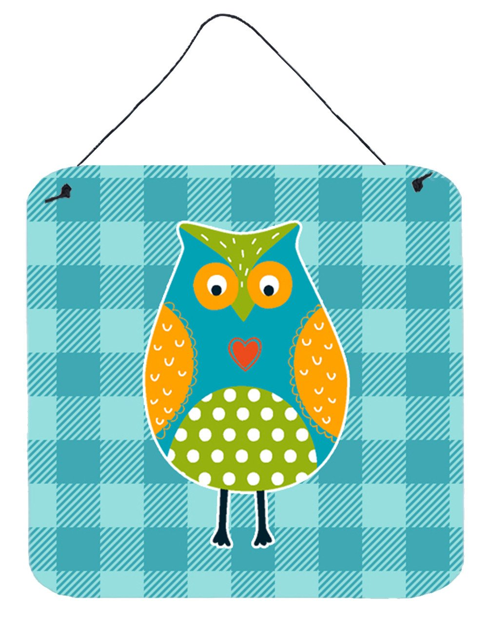 Owl on Blue Plaid Wall or Door Hanging Prints BB6755DS66 by Caroline's Treasures