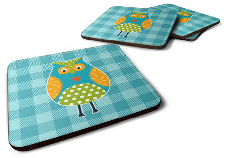 Buy this Owl on Blue Plaid Foam Coaster Set of 4 BB6755FC