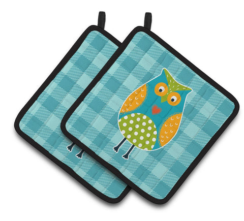 Buy this Owl on Blue Plaid Pair of Pot Holders BB6755PTHD