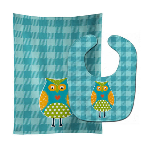 Buy this Owl on Blue Plaid Baby Bib & Burp Cloth BB6755STBU