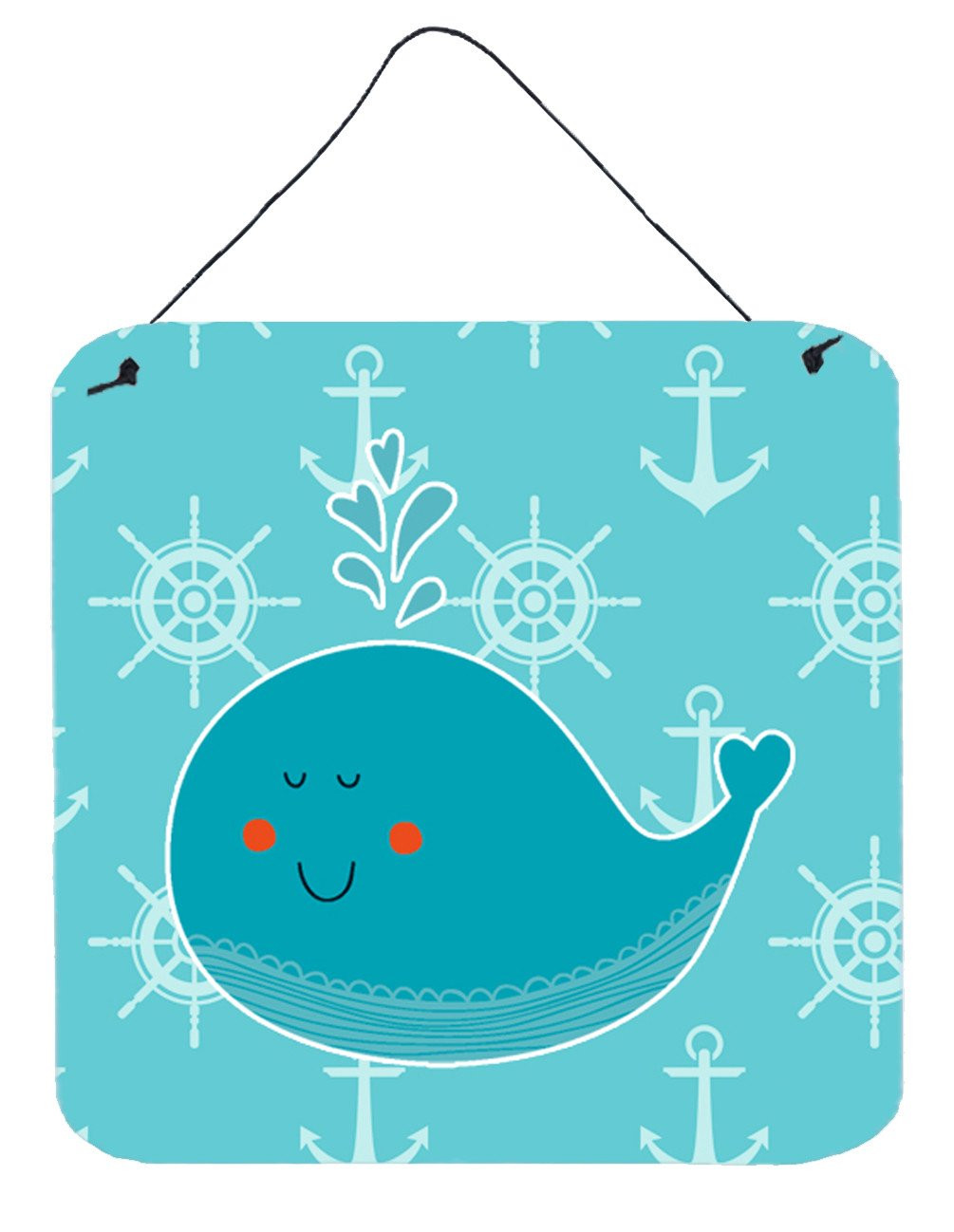 Whale with Anchors Wall or Door Hanging Prints BB6765DS66 by Caroline's Treasures