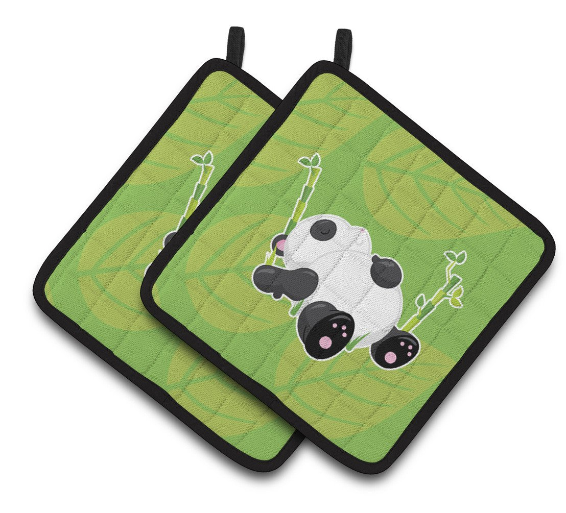 Passed Out Panda Pair of Pot Holders BB6798PTHD by Caroline's Treasures