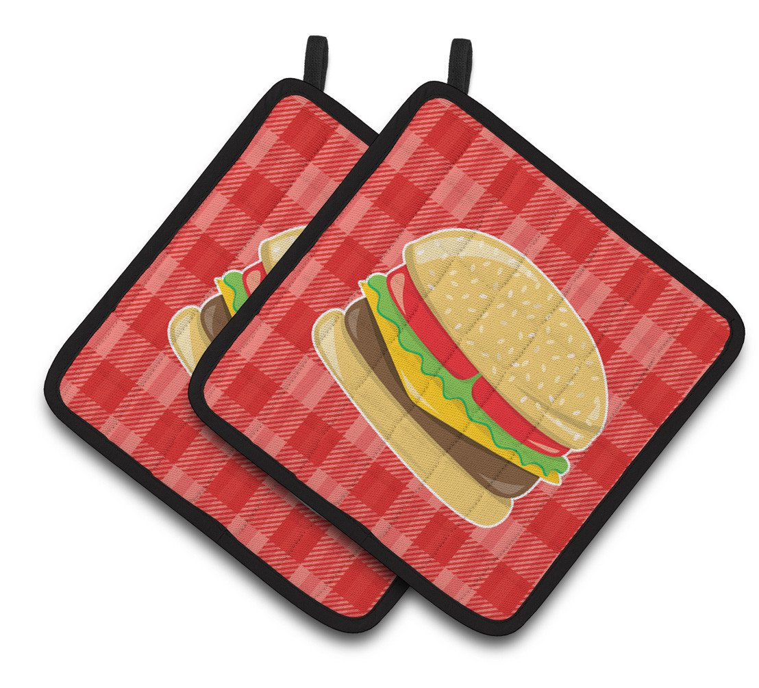 Hamburger Plaid Pair of Pot Holders BB6812PTHD by Caroline's Treasures