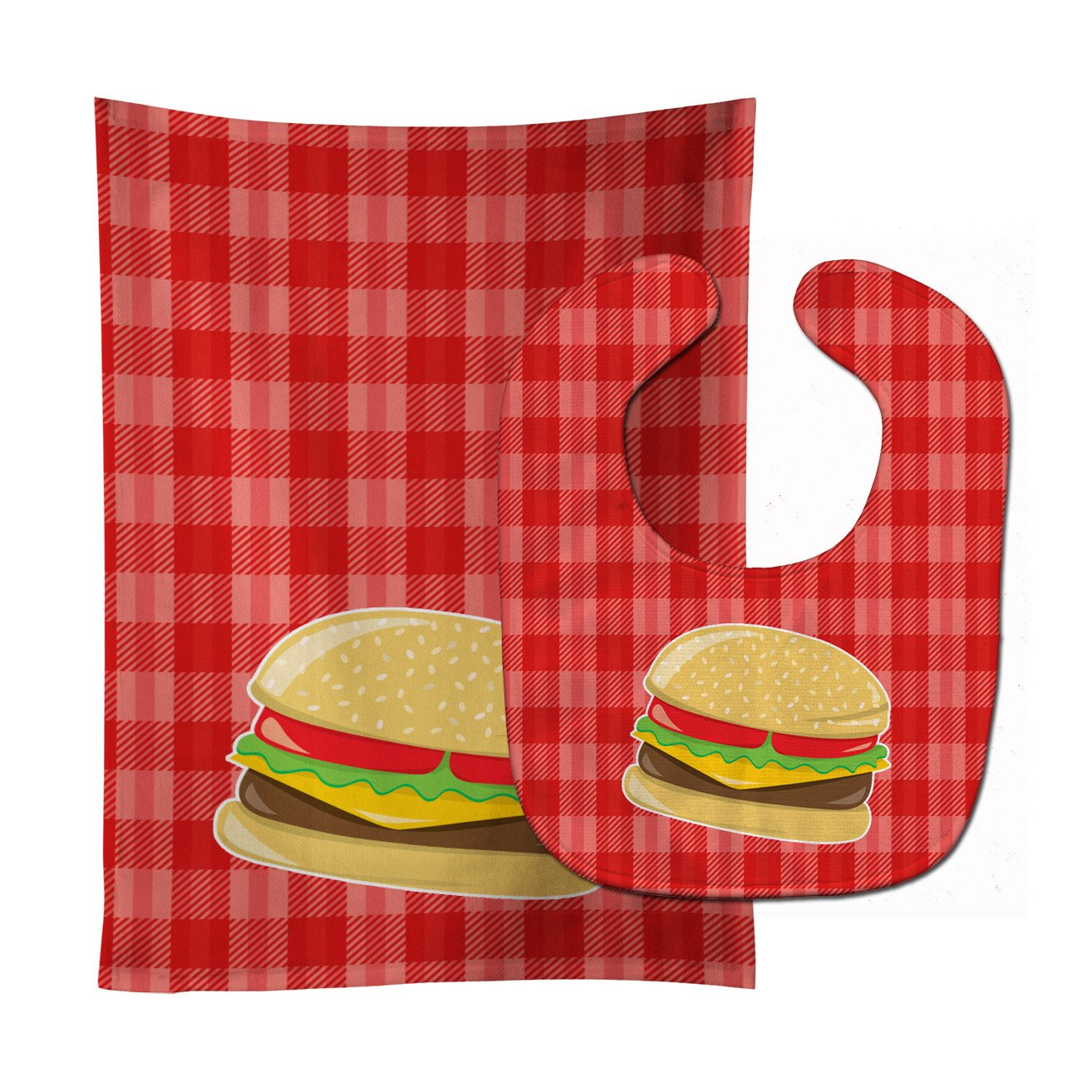 Hamburger Plaid Baby Bib & Burp Cloth BB6812STBU by Caroline's Treasures