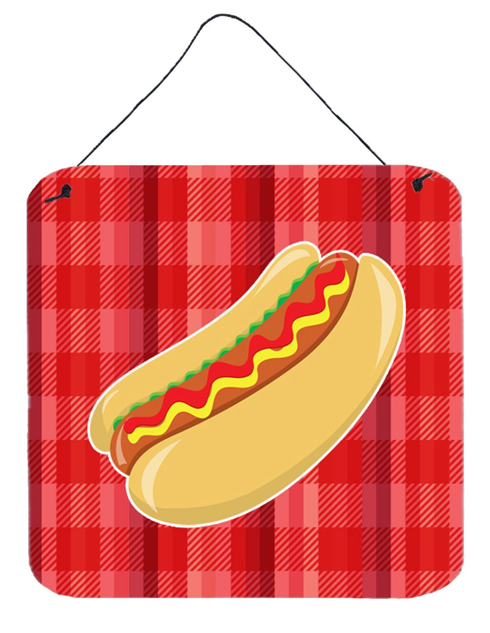 Hot Dog Plaid Wall or Door Hanging Prints BB6813DS66 by Caroline's Treasures